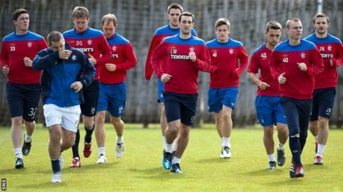 Rangers players training