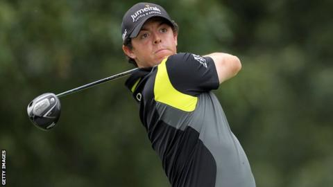 Rory McIlroy hits his tee shot on the seventh hole on Sunday