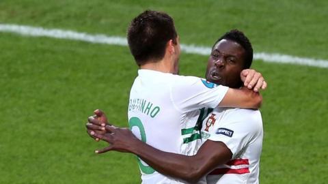 Varela and Moutinho celebrate beating Denmark
