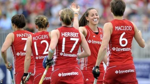 Great Britain's Emily Maguire celebrates the third goal against Ireland