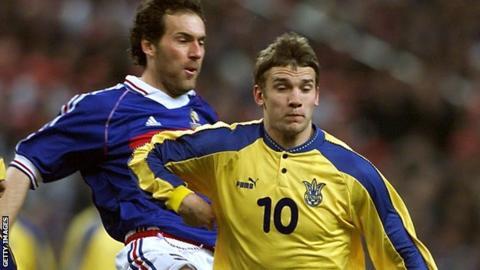Laurent Blanc and Andriy Shevchenko