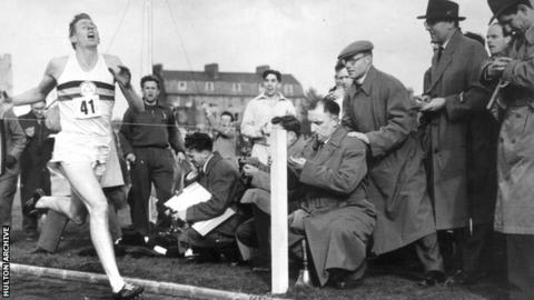 Roger Bannister records the first sub four minute mile, in Oxford in 1954