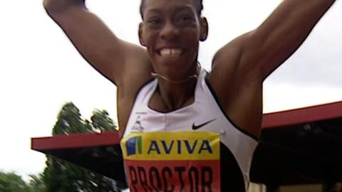 Shara Proctor sets a new British long jump record of 6.95m at the Olympic trials in Birmingham