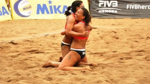 Mauritius women's beach volleyball team Natacha Rigobert and Elodie Li Yuk Lo
