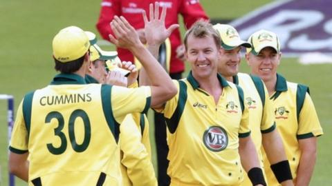 Brett Lee celebrates a wicket against Ireland