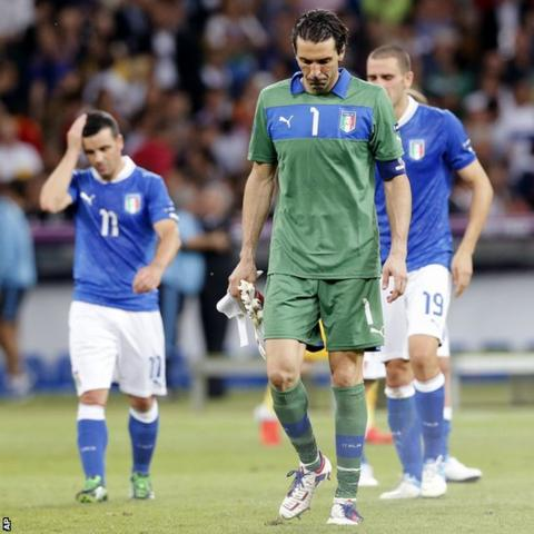 The losing Italy players