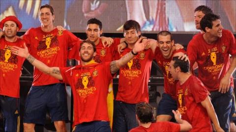 "Spain""s Sergio Ramos (centre) celebrates with team-mates"