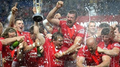 London Welsh celebrate winning the Championship last season