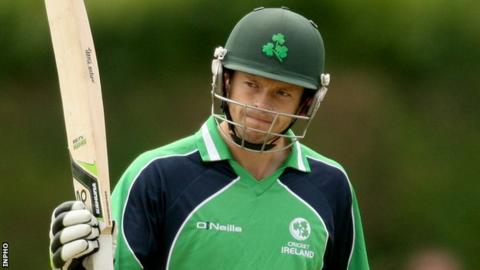 Ed Joyce acknowledges the applause after reaching the 50 mark at Clontarf