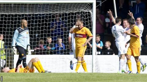 Martin Campbell celebrates after putting Ayr United 3-0 up against Motherwell