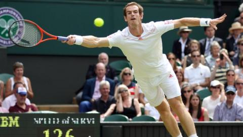 Andy Murray in action at Wimbledon