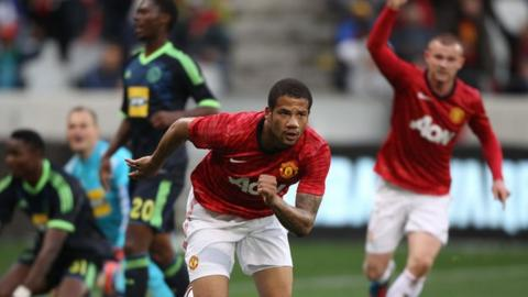 Bebe celebrates after scoring the equaliser against Ajax Cape Town in a 1-1 draw