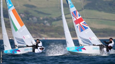 Ireland duo Peter O'Leary and David Burrows in action alongside British hopefuls Iain Percy and Andrew Simpson