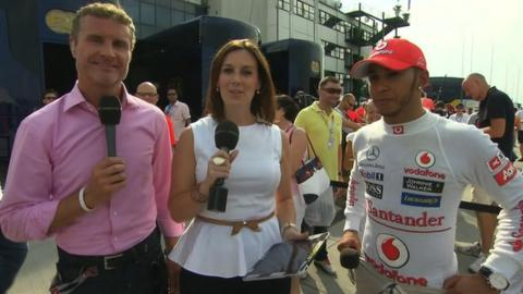 David Coulthard, Lee McKenzie and Lewis Hamilton