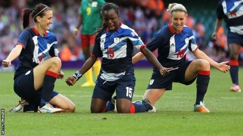 Jill Scott celebrates her goal against Cameroon