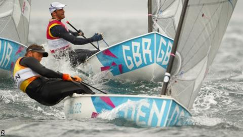 Great Britain's Ben Ainslie (top) chases Denmark's Jonas Hogh-Christensen in the Finn class in Weymouth