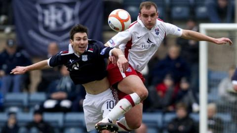 Dundee's Carl Finnigan and Ross County's Grant Munro challenge for a high ball