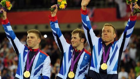Philip Hindes, Jason Kenny and Sir Chris Hoy celebrate gold in team sprint.