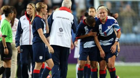 Dejected members of GB football team at end of match against Canada