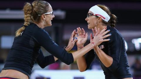 US beach volleyball players Kerri Walsh Jennings and Misty May-Treanor