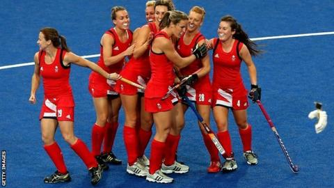 Great Britain players celebrate