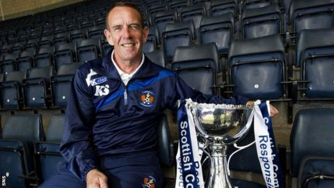 Kilmarnock manager Kenny Shiels with the Scottish Communities League Cup