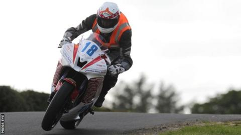 Lee Vernon in action at the Ulster Grand Prix meeting before his crash on Thursday