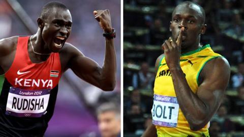 David Rudisha and Usain Bolt celebrate Olympic victory