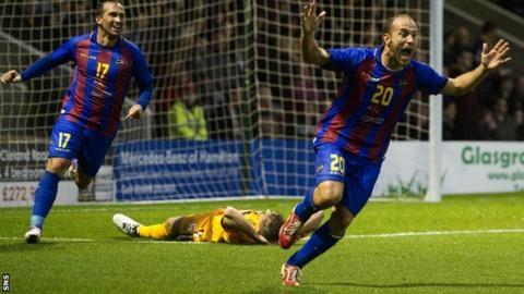 Levante's Juanlu celebrates scoring the opening goal against Motherwell
