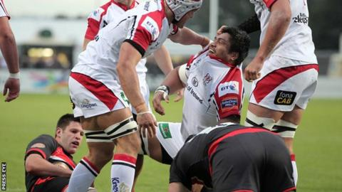 Nick Williams in congratulated after scoring his opening try in Friday's game