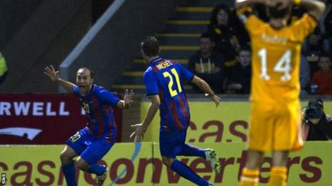 Levante players celebrate after scoring against Motherwell