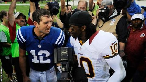 Quarterbacks Andrew Luck (left) and Robert Griffin III will face huge pressure in their rookie season