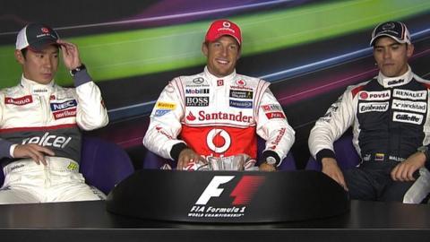 Kamui Kobayashi, Jenson Button and Pastor Maldonado