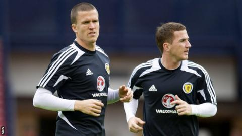 Caldwell (left) in training with Scotland team-mate Ross McCormack