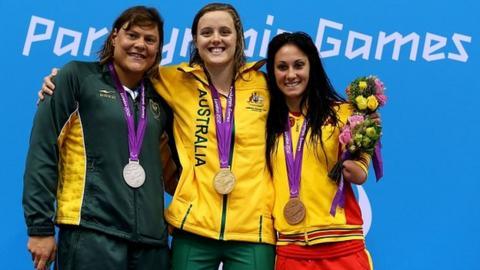 Natalie du Toit (left), Ellie Cole (centre), Sarai Gascon (right)