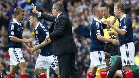 Scotland players with coach Craig Levein