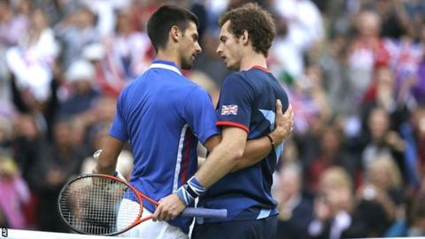 Novak Djokovic and Andy Murray during the Olympics at Wimbledon