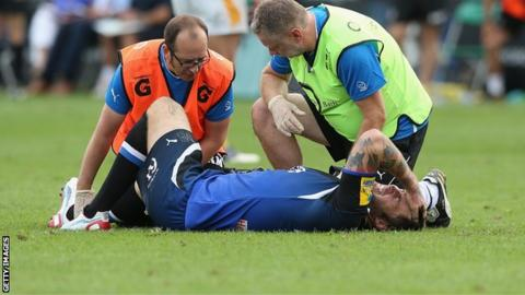 Matt Banahan lying injured during the game against Wasps