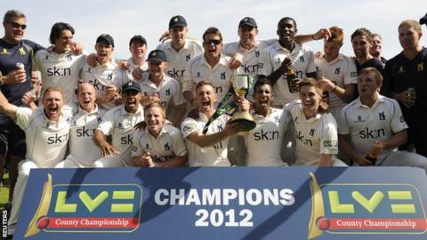 Warwickshire with the County Championship cup in 2012