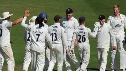 Sussex's players celebrate against Somerset