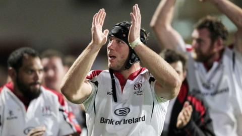 Stephen Ferris celebrates Ulster's victory over Munster