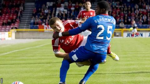 Blackman fouls Aberdeen winger Ryan Fraser in the early moments of the defender's debut