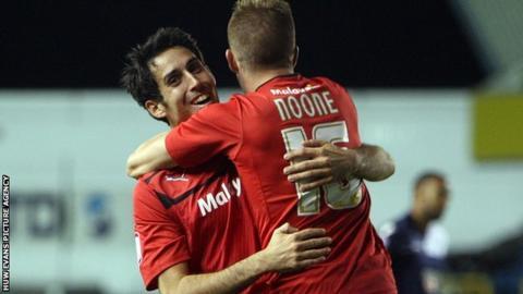 Goalscorers Peter Whittingham and Craig Noone celebrate