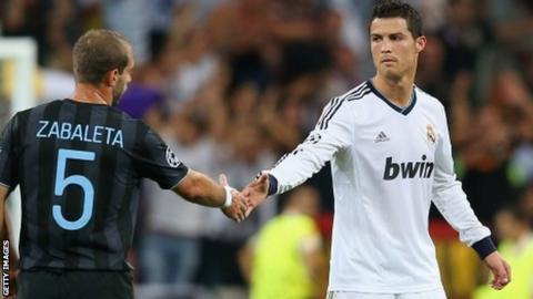 Cristiano Ronaldo and Pablo Zabaleta shake hands at the final whistle