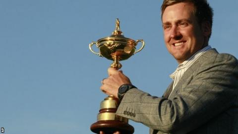 Ian Poulter with Ryder Cup in 2010