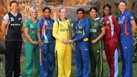 Captains Suzie Bates (New Zealand), Mignon du Preez (South Africa), Mithali Raj (India), Jodie Fields (Australia), Shashikala Siriwardene (Sri Lanka), Sana Mir (Pakistan), Merissa Aguilleira (West Indies) and Charlotte Edwards (England) with the trophy