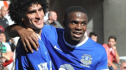 Everton scorers Marouane Fellaini and Victor Anichebe celebrate at the Liberty Stadium