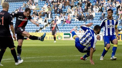 Paul McGowan scores for St Mirren against Kilmarnock