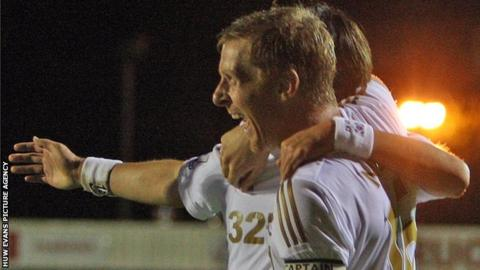 Garry Monk celebrates his winner at Crawley Town