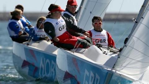 John Robertson, Stephen Thomas and Hannah Stodel competing at the Paralympics